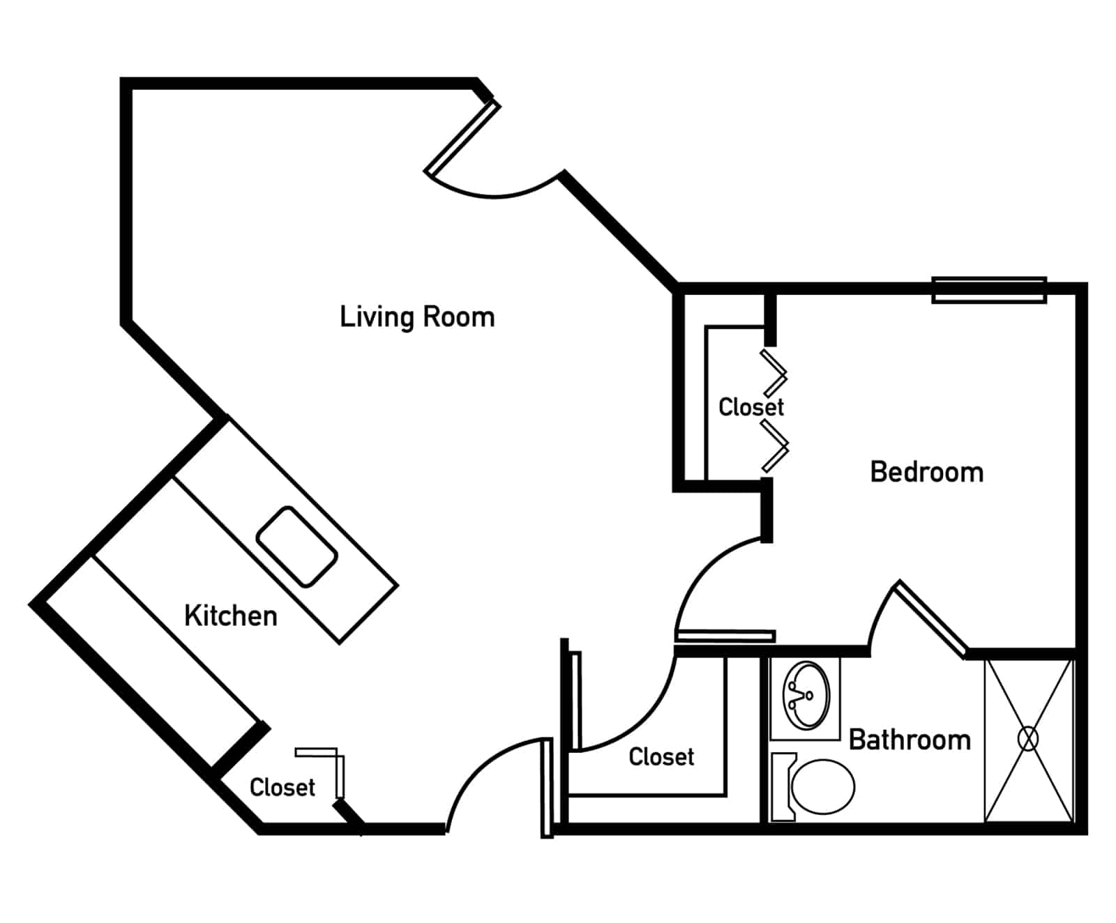 Gardenia Deluxe One Bedroom Floor Plan
