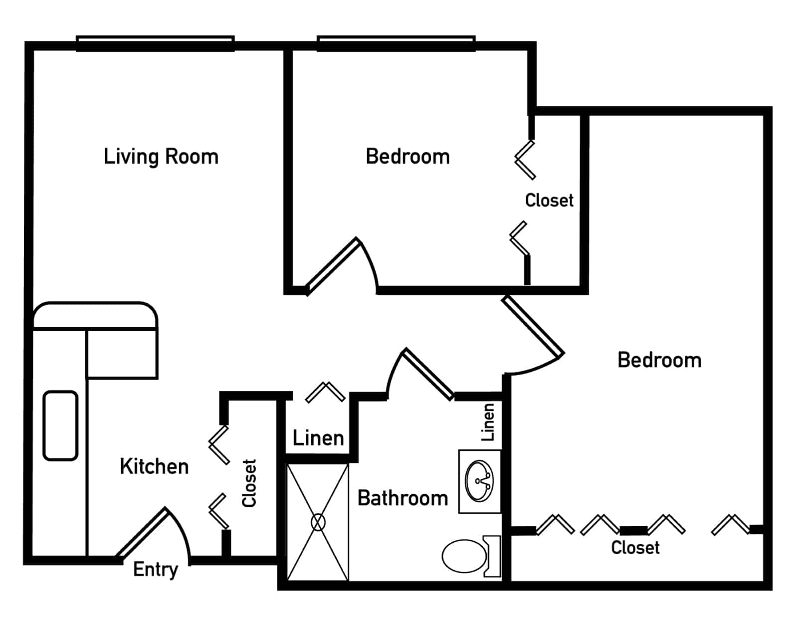 Hibiscus Two Bedroom Floor Plan