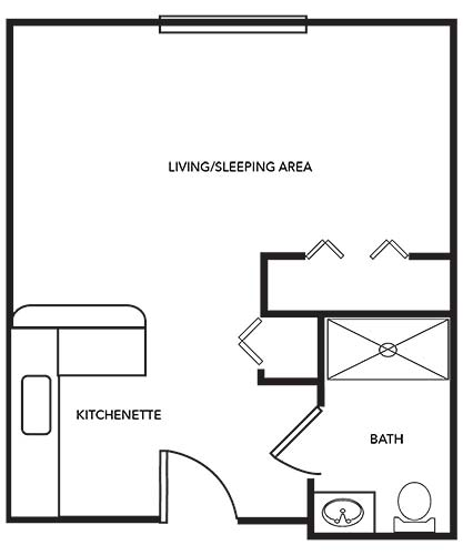 Starfish Studio Apartment - 360 sq. ft.